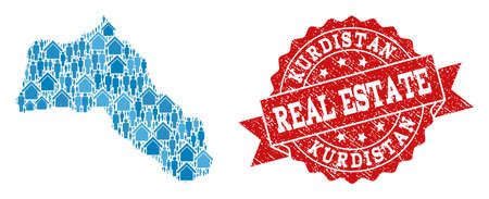 Real Estate combination of blue mosaic map of Kurdistan and unclean stamp. Vector red imprint with unclean rubber texture. Mosaic map of Kurdistan constructed with realty and population.