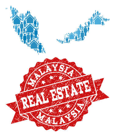 Real Estate composition of blue mosaic map of Malaysia and rubber stamp. Vector red watermark with unclean rubber texture. Mosaic map of Malaysia constructed with buildings and men. Illustration