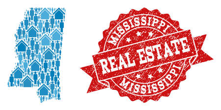 Real Estate combination of blue mosaic map of Mississippi State and rubber seal. Vector red seal with distress rubber texture. Mosaic map of Mississippi State designed with properties and people.