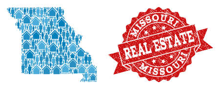 Real Estate combination of blue mosaic map of Missouri State and dirty seal. Vector red watermark with corroded rubber texture. Mosaic map of Missouri State designed with houses and persons.