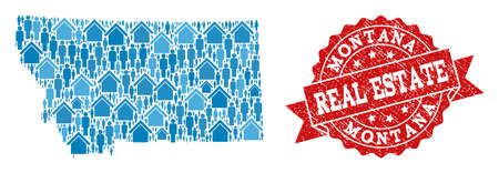 Real Estate collage of blue mosaic map of Montana State and rubber seal stamp. Vector red seal with distress rubber texture. Mosaic map of Montana State designed with homes and people.