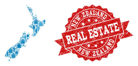 Real Estate collage of blue mosaic map of New Zealand and rubber seal stamp. Vector red watermark with unclean rubber texture. Mosaic map of New Zealand designed with homes and population.