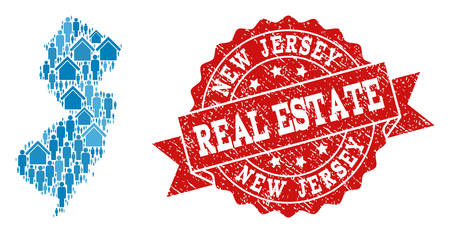 Real Estate combination of blue mosaic map of New Jersey State and rubber seal. Vector red seal with scratched rubber texture. Mosaic map of New Jersey State constructed with properties and people.