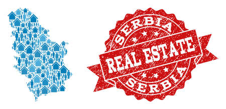 Real Estate combination of blue mosaic map of Serbia and textured seal. Vector red seal with unclean rubber texture. Mosaic map of Serbia designed with realty and persons.