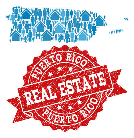 Real Estate composition of blue mosaic map of Puerto Rico and scratched seal. Vector red imprint with scratched rubber texture. Mosaic map of Puerto Rico designed with realty and persons.