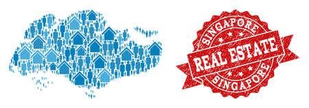 Combinaison immobilière de la carte en mosaïque bleue de Singapour et du tampon en caoutchouc. Sceau rouge de vecteur avec texture en caoutchouc de détresse. Carte en mosaïque de Singapour construite avec des biens immobiliers et des personnes.