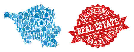 Real Estate combination of blue mosaic map of Saarland State and unclean seal. Vector red seal with grunge rubber texture. Mosaic map of Saarland State designed with realty and persons. Stock Illustratie