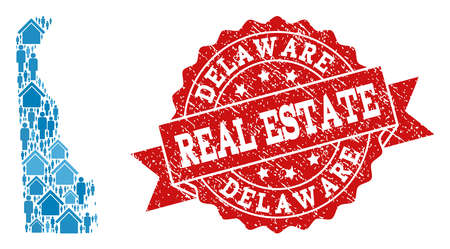 Real Estate combination of blue mosaic map of Delaware State and textured stamp. Vector red seal with distress rubber texture. Mosaic map of Delaware State constructed with realty and people.