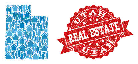 Real Estate composition of blue mosaic map of Utah State and grunge seal stamp. Vector red imprint with scratched rubber texture. Mosaic map of Utah State designed with realty and people.  イラスト・ベクター素材