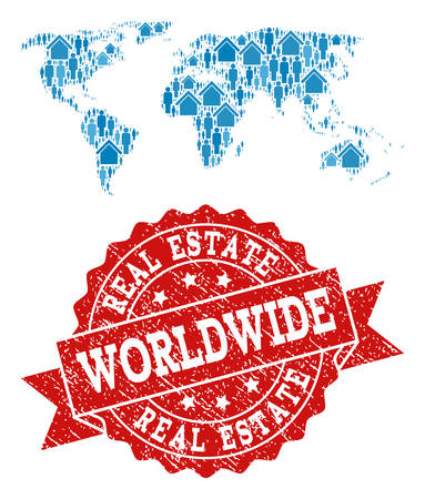Real Estate collage of blue mosaic map of world and dirty stamp. Vector red seal with distress rubber texture. Mosaic map of world designed with houses and persons. Stock Illustratie