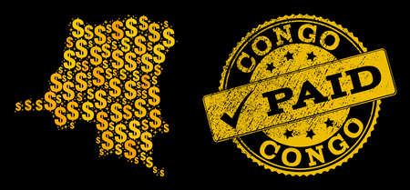 Golden combination of dollar mosaic map of Democratic Republic of the Congo and paid corroded stamp. Vector seal with corroded rubber texture and PAID caption.