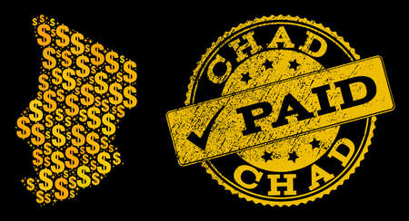 Golden combination of dollar mosaic map of Chad and paid rubber seal. Vector watermark with distress rubber texture and PAID text.