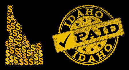 Golden combination of dollar mosaic map of Idaho State and paid rubber stamp. Vector seal with distress rubber texture and PAID caption.  イラスト・ベクター素材