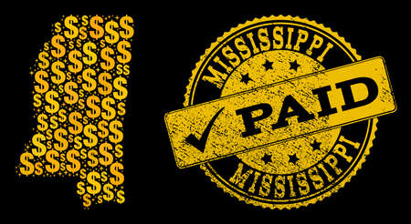 Golden composition of dollar mosaic map of Mississippi State and paid rubber seal stamp. Vector seal with grunge rubber texture and PAID caption. Stock Illustratie