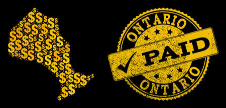 Golden combination of dollar mosaic map of Ontario Province and paid scratched seal stamp. Vector seal with grunge rubber texture and PAID caption.