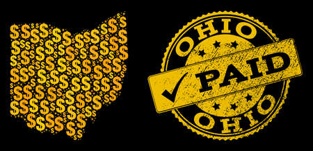 Golden composition of dollar mosaic map of Ohio State and paid unclean seal stamp. Vector seal with scratched rubber texture and PAID text.