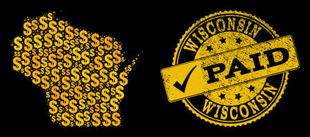 Golden composition of dollar mosaic map of Wisconsin State and paid unclean seal. Vector seal with grunge rubber texture and PAID message.
