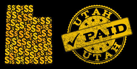 Golden collage of dollar mosaic map of Utah State and paid rubber seal. Vector seal with distress rubber texture and PAID caption.