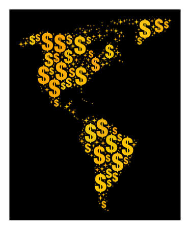 Map of South and North America of golden dollar signs. Flat design for commercial bank templates. Abstract map of South and North America in yellow colors. Stock Illustratie