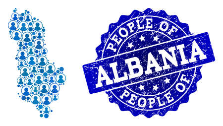 People collage of blue population map of Albania and grunge seal stamp. Vector seal with grunge rubber texture. Mosaic map of Albania constructed with rounded users.