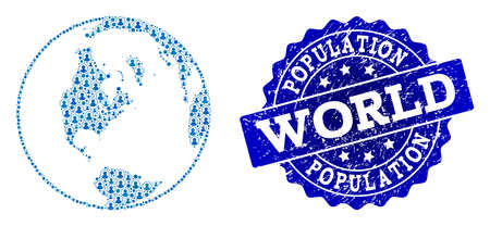People combination of blue population global map of world and rubber seal stamp. Vector seal with unclean rubber texture. Mosaic global map of world constructed with rounded users.