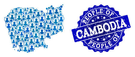 People composition of blue population map of Cambodia and grunge seal. Vector seal with grunge rubber texture. Mosaic map of Cambodia designed with rounded users. Flat design for political posters.