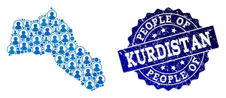 People collage of blue population map of Kurdistan and grunge stamp. Vector imprint with grunge rubber texture. Mosaic map of Kurdistan constructed with rounded users.