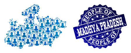 People collage of blue population map of Madhya Pradesh State and grunge seal stamp. Vector imprint with grunge rubber texture. Mosaic map of Madhya Pradesh State constructed with rounded users.