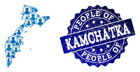 People composition of blue population map of Kamchatka Peninsula and unclean seal stamp. Vector watermark with unclean rubber texture. Mosaic map of Kamchatka Peninsula constructed with rounded users.