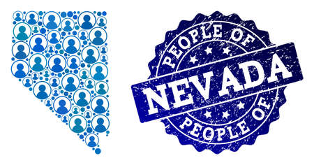 People combination of blue population map of Nevada State and rubber seal stamp. Vector seal with corroded rubber texture. Mosaic map of Nevada State constructed with rounded users.