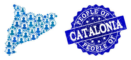People combination of blue population map of Catalonia and grunge stamp. Vector imprint with grunge rubber texture. Mosaic map of Catalonia designed with rounded users.