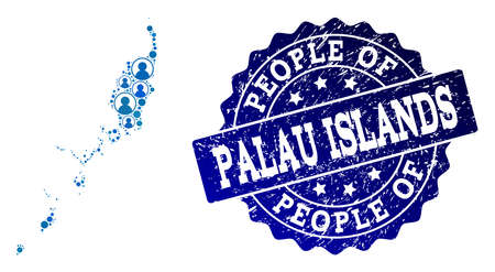 People combination of blue population map of Palau Islands and unclean seal. Vector seal with unclean rubber texture. Mosaic map of Palau Islands designed with rounded users. Illustration