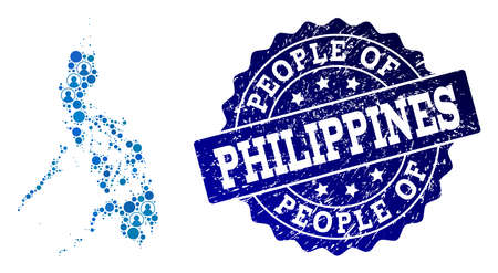 People combination of blue population map of Philippines and rubber seal. Vector seal with scratched rubber texture. Mosaic map of Philippines designed with rounded users.
