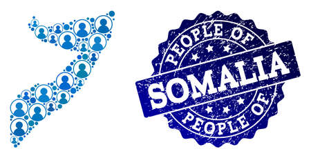 People composition of blue population map of Somalia and corroded seal. Vector watermark with corroded rubber texture. Mosaic map of Somalia constructed with rounded users.  イラスト・ベクター素材