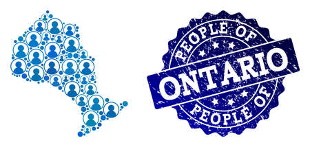 People combination of blue population map of Ontario Province and rubber seal stamp. Vector imprint with distress rubber texture. Mosaic map of Ontario Province designed with rounded users. Иллюстрация
