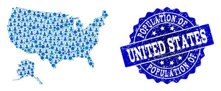 People combination of blue population map of USA and Alaska and scratched seal stamp. Vector seal with scratched rubber texture. Mosaic map of USA and Alaska designed with rounded users.