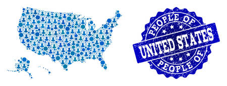 People collage of blue population map of USA territories and grunge stamp. Vector watermark with grunge rubber texture. Mosaic map of USA territories constructed with rounded users. Иллюстрация