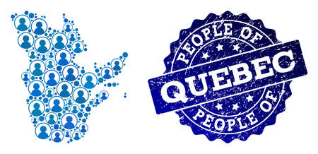 People composition of blue population map of Quebec Province and rubber seal stamp. Vector seal with unclean rubber texture. Mosaic map of Quebec Province constructed with rounded users. Иллюстрация