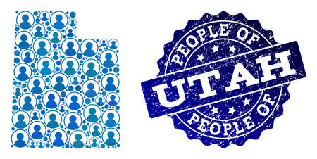 People combination of blue population map of Utah State and rubber seal stamp. Vector seal with unclean rubber texture. Mosaic map of Utah State designed with rounded users.