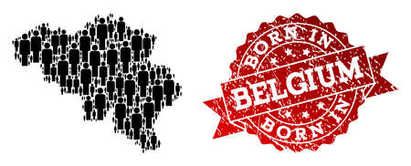 People crowd composition of black population map of Belgium and rubber seal stamp. Vector red seal with grunge rubber texture has Born In text. Mosaic map of Belgium designed with standing persons.