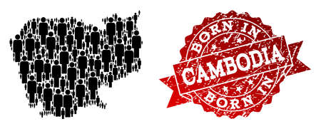 People crowd collage of black population map of Cambodia and rubber seal stamp. Vector red seal with distress rubber texture has Born In text. Mosaic map of Cambodia designed with standing persons.