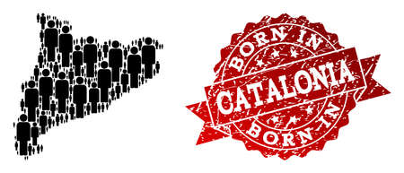 People crowd composition of black population map of Catalonia and rubber seal stamp. Vector red imprint with distress rubber texture has Born In text.