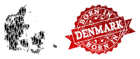 People crowd collage of black population map of Denmark and grunge seal stamp. Vector red seal with grunge rubber texture has Born In text. Mosaic map of Denmark designed with standing persons. 일러스트