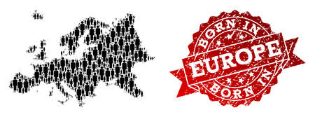 People crowd collage of black population map of Europe and rubber seal stamp. Vector red imprint with grunge rubber texture has Born In text. Mosaic map of Europe constructed with standing persons. 일러스트