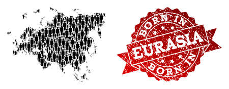 People crowd composition of black population map of Europe and Asia and grunge seal stamp. Vector red seal with unclean rubber texture has Born In text. 일러스트