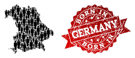 People crowd collage of black population map of Germany and rubber stamp. Vector red seal with unclean rubber texture has Born In text. Mosaic map of Germany constructed with standing persons.