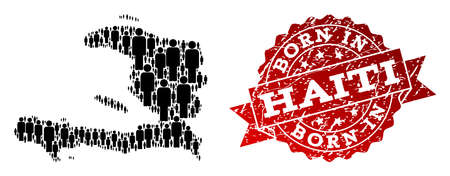 People crowd composition of black population map of Haiti and rubber stamp. Vector red imprint with distress rubber texture has Born In text. Mosaic map of Haiti designed with standing persons. 일러스트