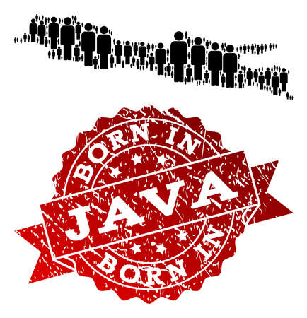 People crowd combination of black population map of Java Island and grunge seal stamp. Vector red seal with grunge rubber texture has Born In text. 일러스트