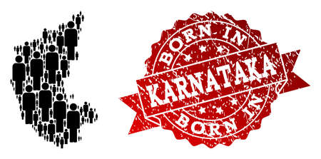 People crowd collage of black population map of Karnataka State and rubber seal. Vector red seal with corroded rubber texture has Born In text.