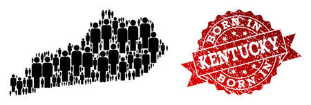 People crowd composition of black population map of Kentucky State and rubber stamp. Vector red watermark with distress rubber texture has Born In text. Illustration
